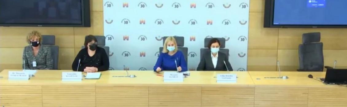 """Spaudos konferencija """"Moterų teisė į mokslo pažangą – medikamentinis nėštumo nutraukimas Lietuvoje"""""""
