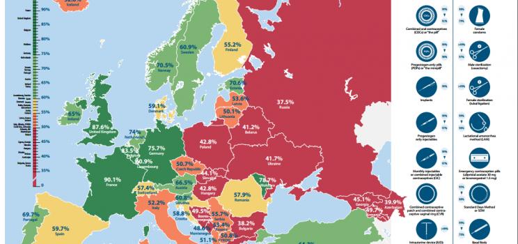 Europos šalių kontracepcijos prieinamumo žemėlapis